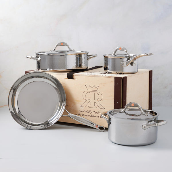 Hand-hammered, clad stainless steel 7-piece set from Ruffoni