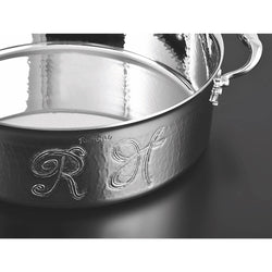 Monogram on stainless steel pot