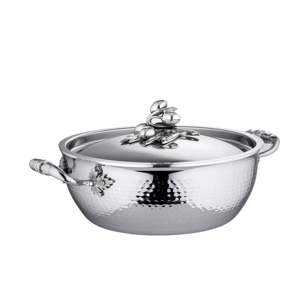 Stainless steel chef pot with two handles. Adorned with olives on the lid