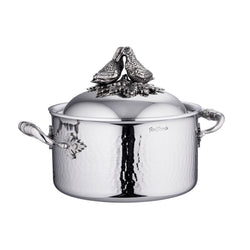 Stainless steel casserole with domed lid, decorated with two lovebirds on top