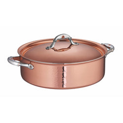 Large Hand-hammered, copper braiser with stainless steel lining from Ruffoni
