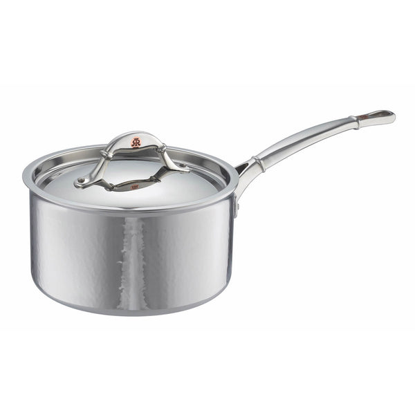 Hand-hammered, clad stainless steel saucepan from Ruffoni