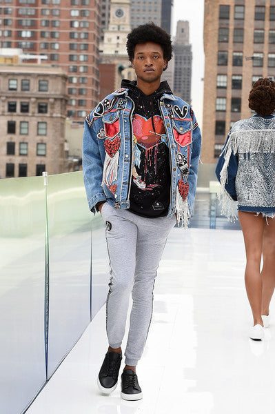 """""""Love You"""" denim jacket, tracksuit and Cupid hoodie by Morphine Fashion on NYWF 2021"""