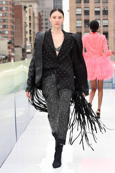 Fringed Jacket, Crystal Sky Jeans and Crystal Blazer by Morphine Fashion on NYFW 2021