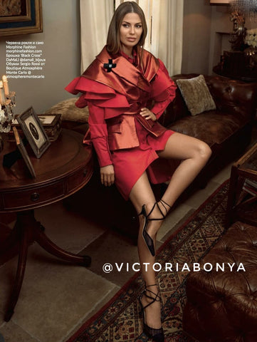 Victoria Bonya wearing red suit by Morphine Fashion