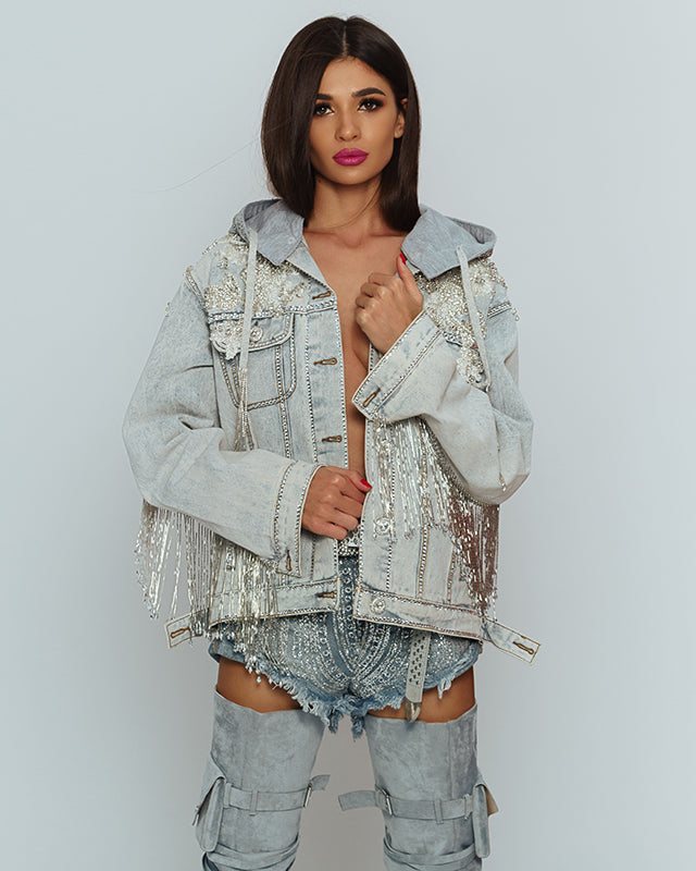 Couture Beaded Denim Jacket