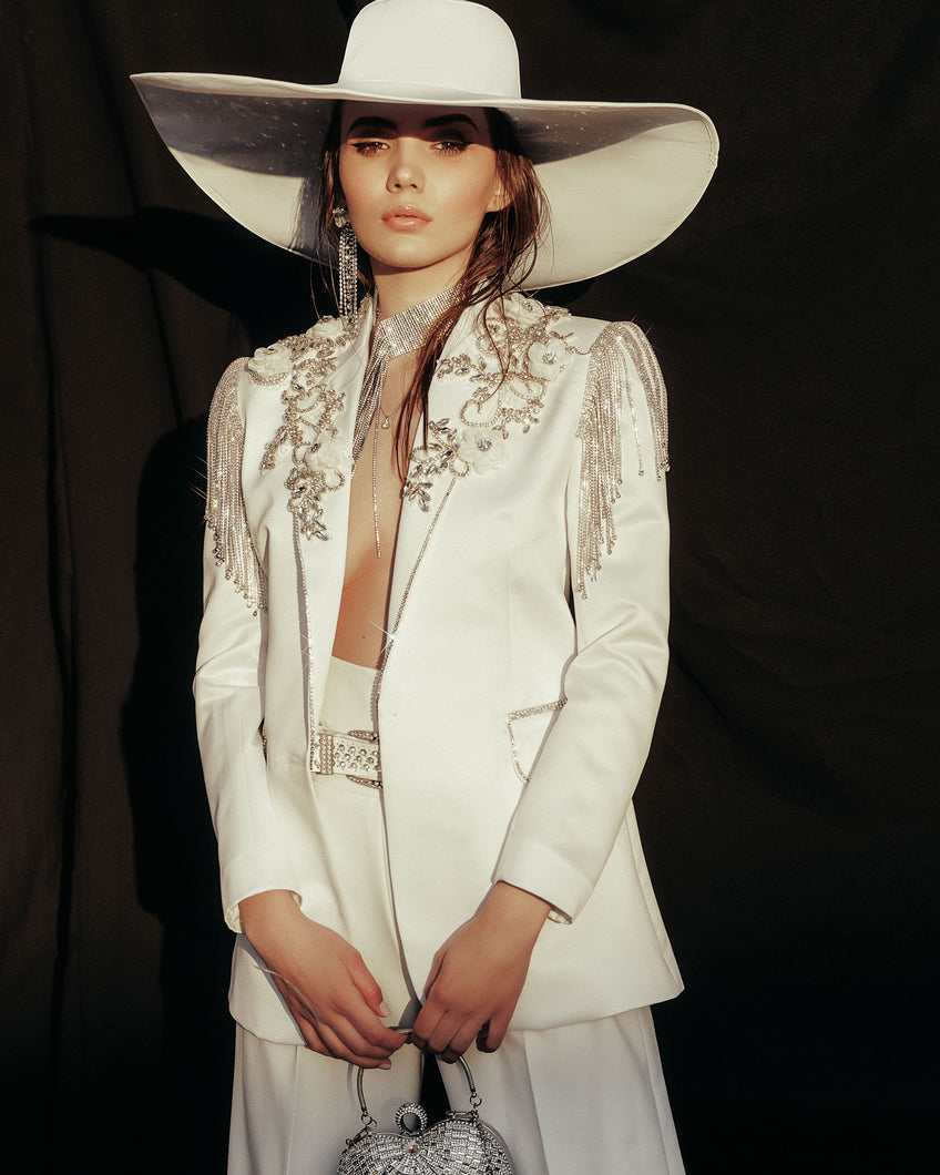 White Swan Tuxedo Blazer by Morphine Fashion
