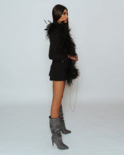 Load image into Gallery viewer, Black Swan Blazer decorated with ostrich feather boa
