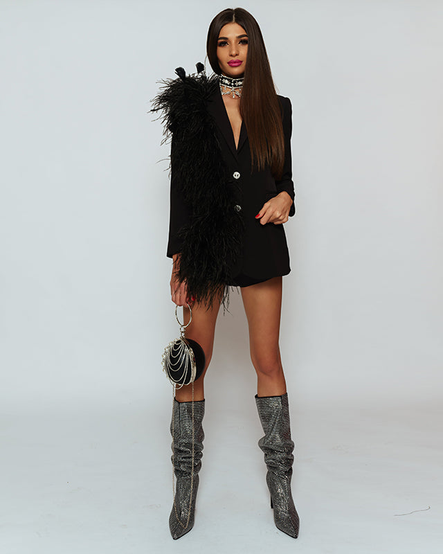 Black Swan Blazer decorated with ostrich feather boa