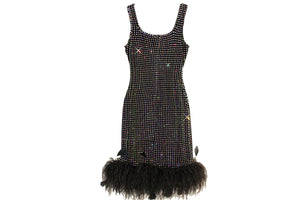 Rhinestones Feather Party Dress