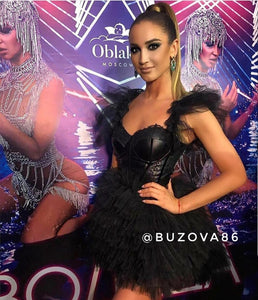 "Black Mini ""Princess"" Dress by Morphine Fashion worn by Olga Buzova"