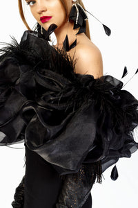 Elegant Dress Decorated with Feathers by Morphine Fashion