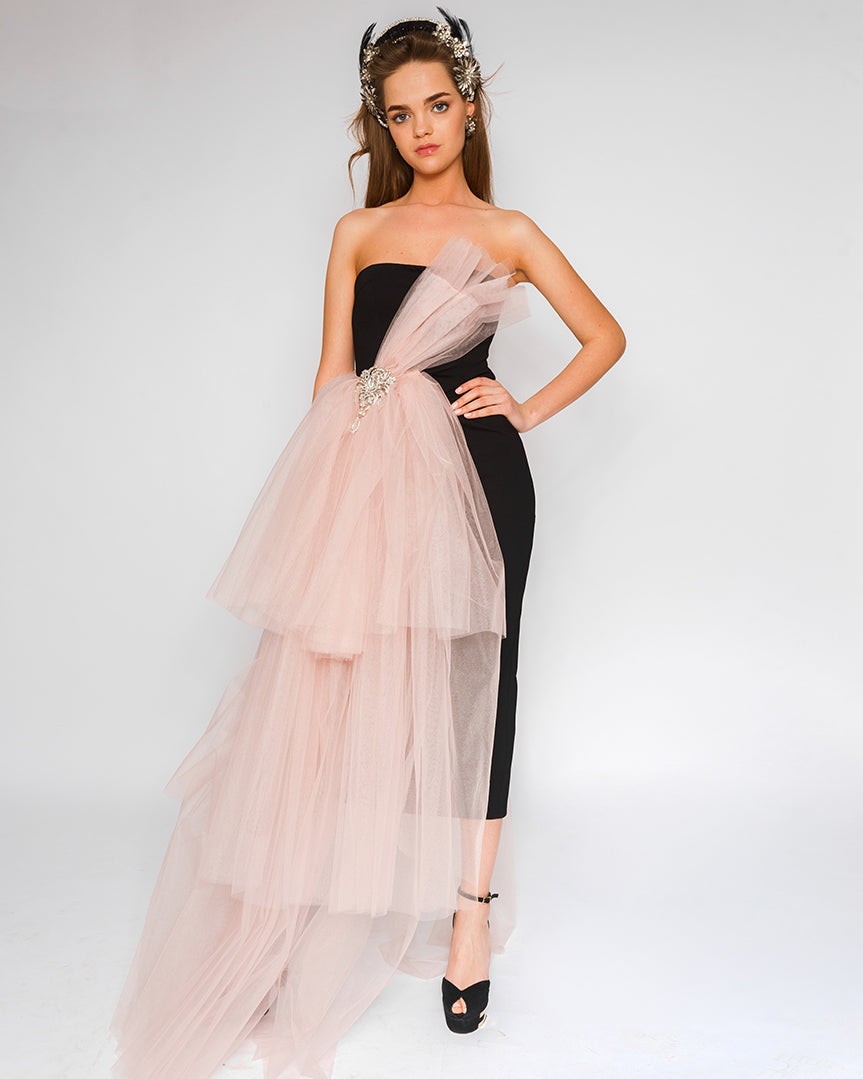 Morphine Fashion Black Midi Dress with pink bow skirt