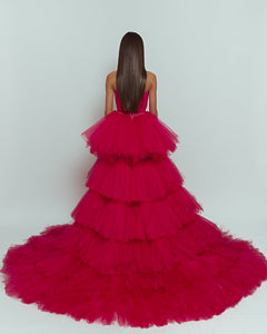 Hollywood Pink Dress with puffy, big veil skirt