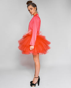 Coral satin dress from Morphine Fashion