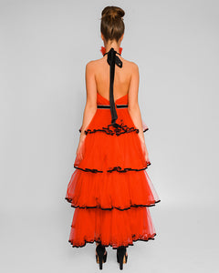 Chic Spanish Tulle Dress with open back
