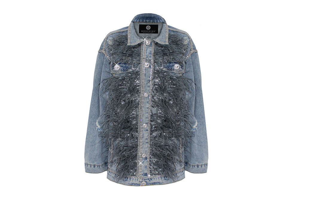 Savannah Denim Feather Jacket by Morphine Fashion