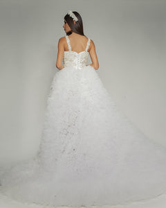 Swan Wedding Dress with gorgeous long veil skirt