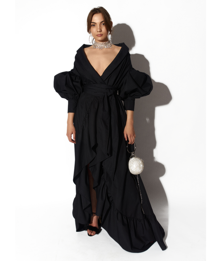 Black Kimono Gown by Morphine Fashion