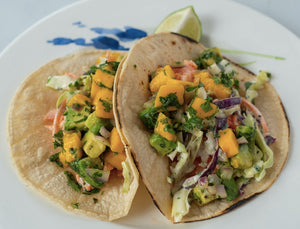 Steelhead Trout Tacos with Mango Avocado Salsa