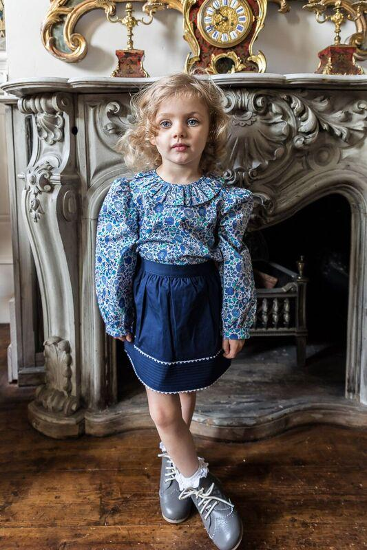 FRILL COLLARED SHIRT IN BLUE LIBERTY PRINT