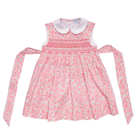 BELLA PINK AND GREEN FLORAL SMOCK DRESS