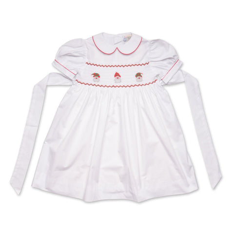 LULU WHITE SANTA SMOCK DRESS