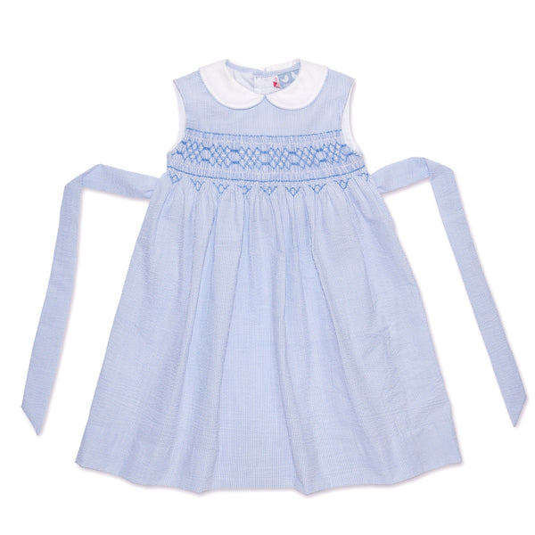 BELLA PALE BLUE AND WHITE PIN STRIPE DRESS