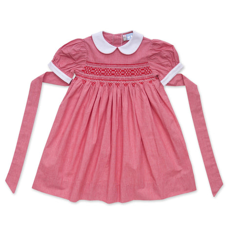 LULU RED SMOCK DRESS