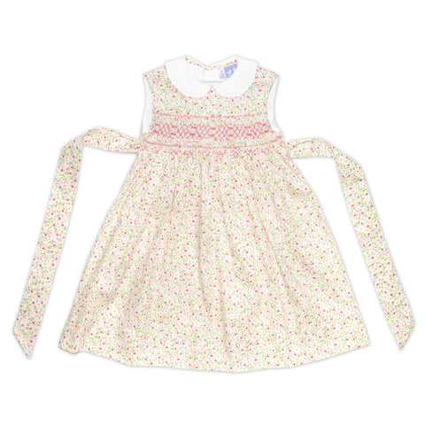 BELLA PINK AND WHITE FLORAL SMOCK DRESS