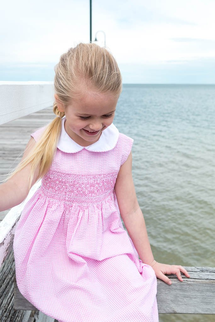 BELLA PINK AND WHITE GINGHAM SMOCK DRESS