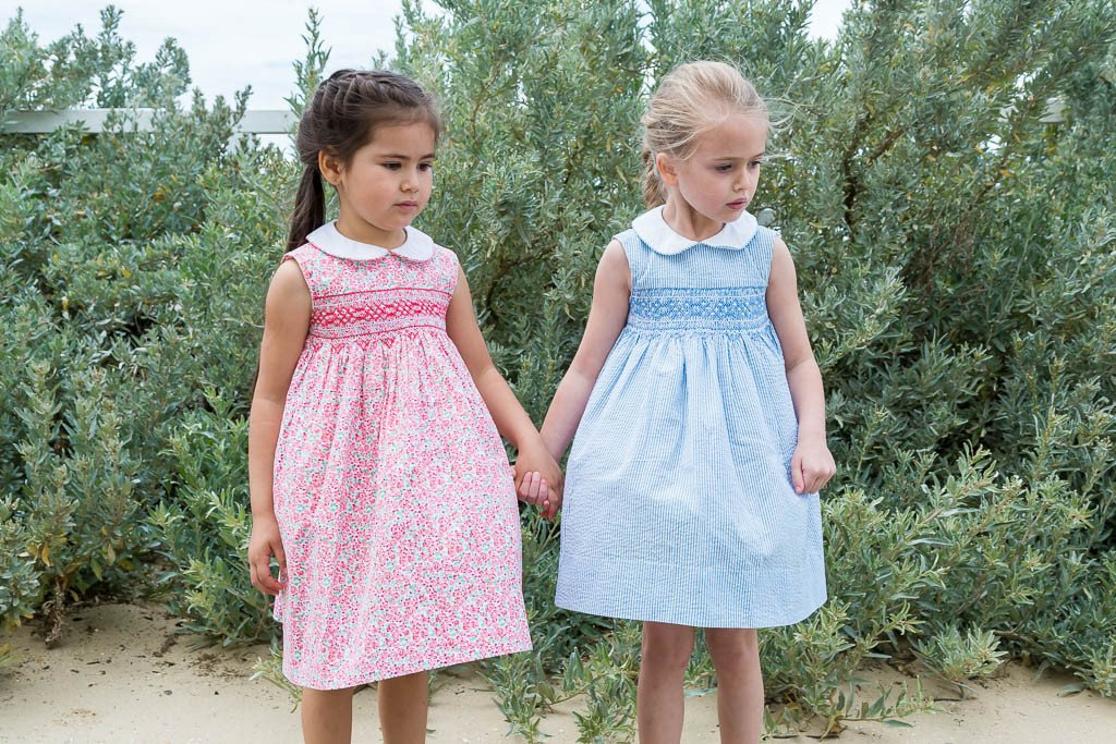 BELLA PALE BLUE AND WHITE PIN STRIPE SMOCK DRESS