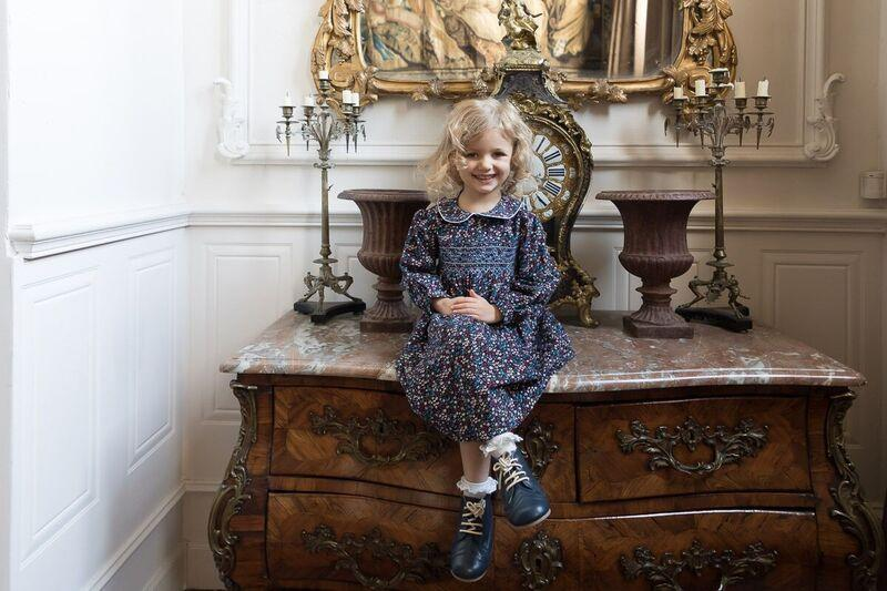 GRACE NAVY FLORAL CORDUROY SMOCK DRESS