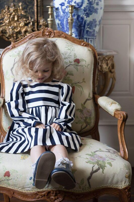 ELLIE NAVY AND WHITE STRIPE DRESS