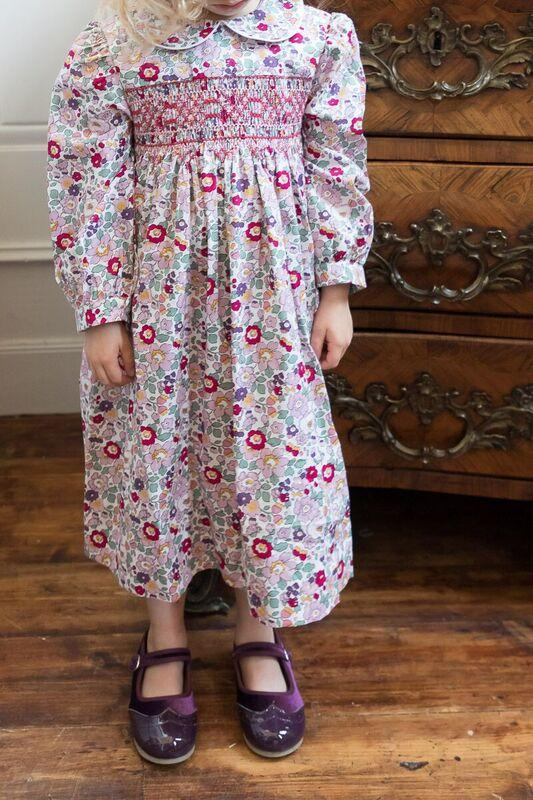 GRACE PINK AND PURPLE LIBERTY PRINT SMOCK DRESS