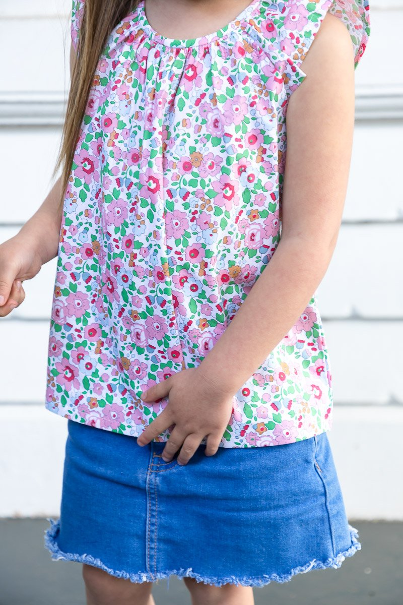 FLORRIE TUNIC TOP WITH FRILL SLEEVES IN LIBERTY PRINT