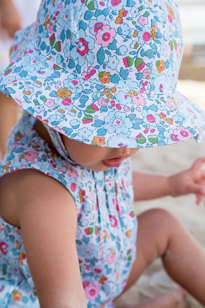 FLORRIE HAT IN PALE BLUE LIBERTY PRINT
