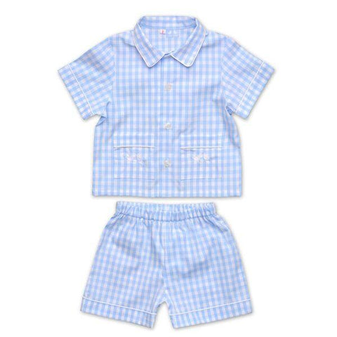 BOYS PALE BLUE AND WHITE GINGHAM PYJAMAS