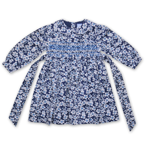 GRACE NAVY AND WHITE LIBERTY PRINT SMOCK DRESS