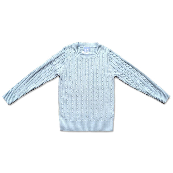 COTTON CABLE KNIT JUMPER IN PALE BLUE