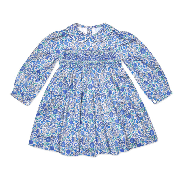 GRACE BLUE LIBERTY PRINT SMOCK DRESS