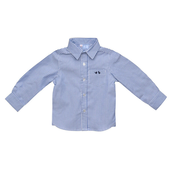 BOYS NAVY AND WHITE STRIPE SHIRT