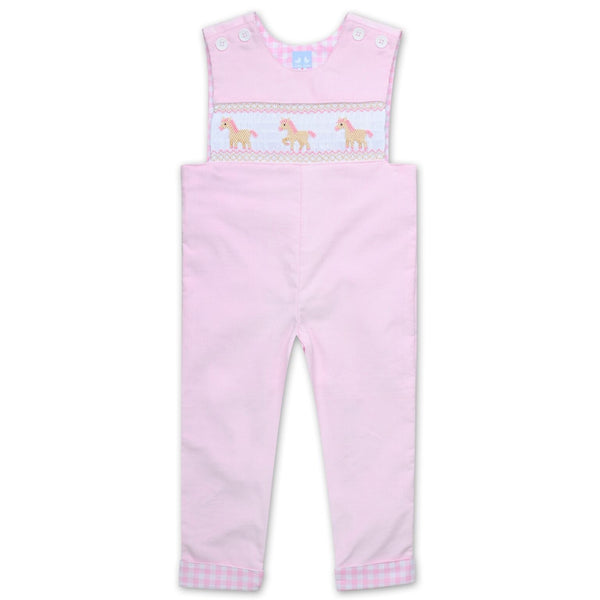 CORDUROY OVERALLS WITH PONY SMOCKING