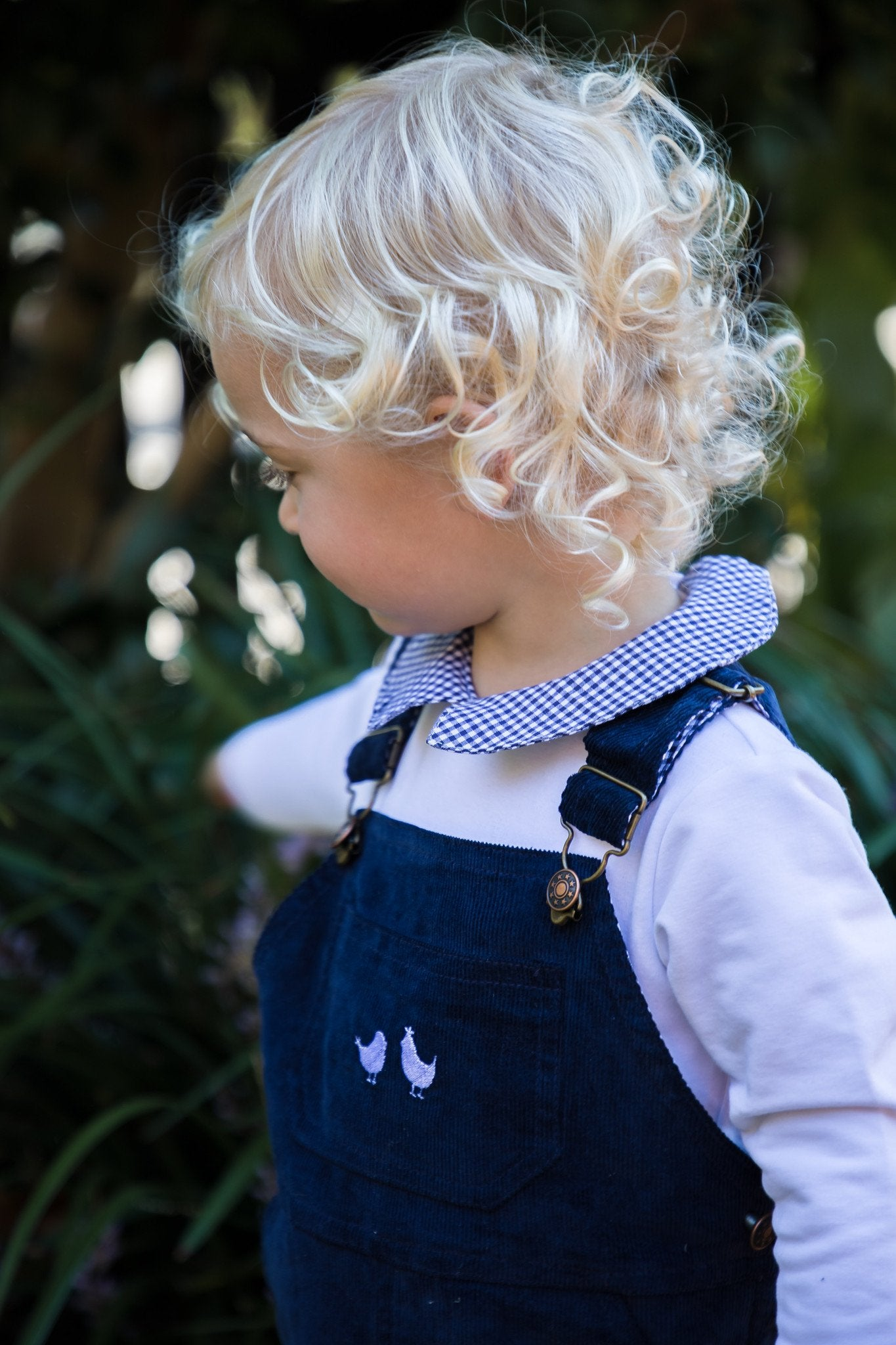BOYS LONG SLEEVE NAVY GINGHAM COLLARED ROMPER