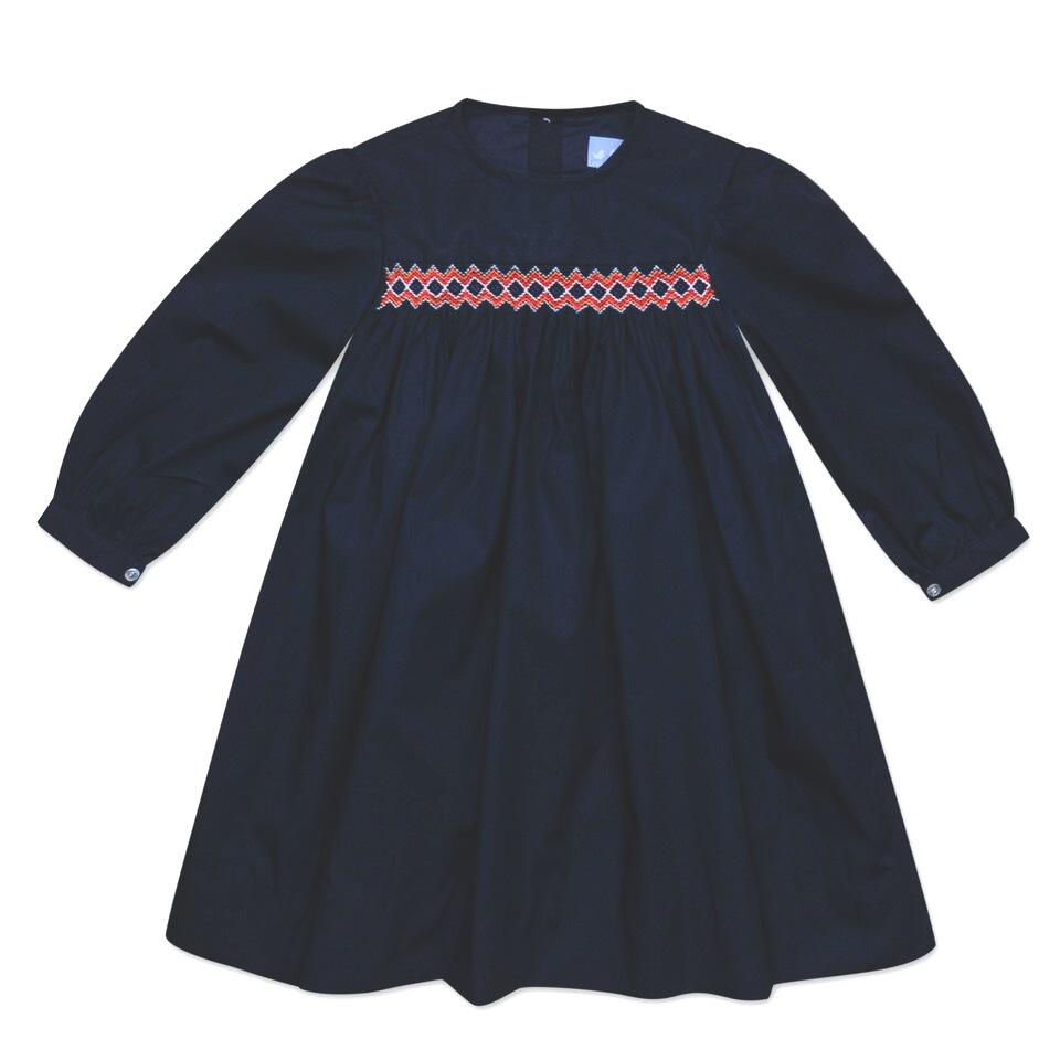 GRACE NAVY ZIG ZAG SMOCK DRESS
