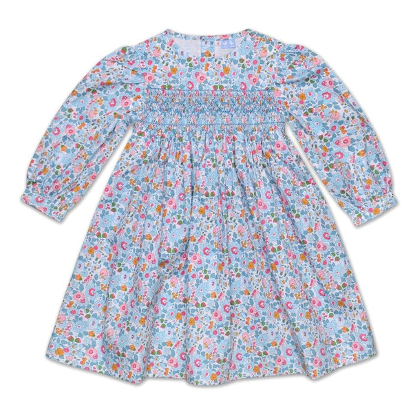 GRACE PALE BLUE COLLARLESS LIBERTY PRINT SMOCK DRESS