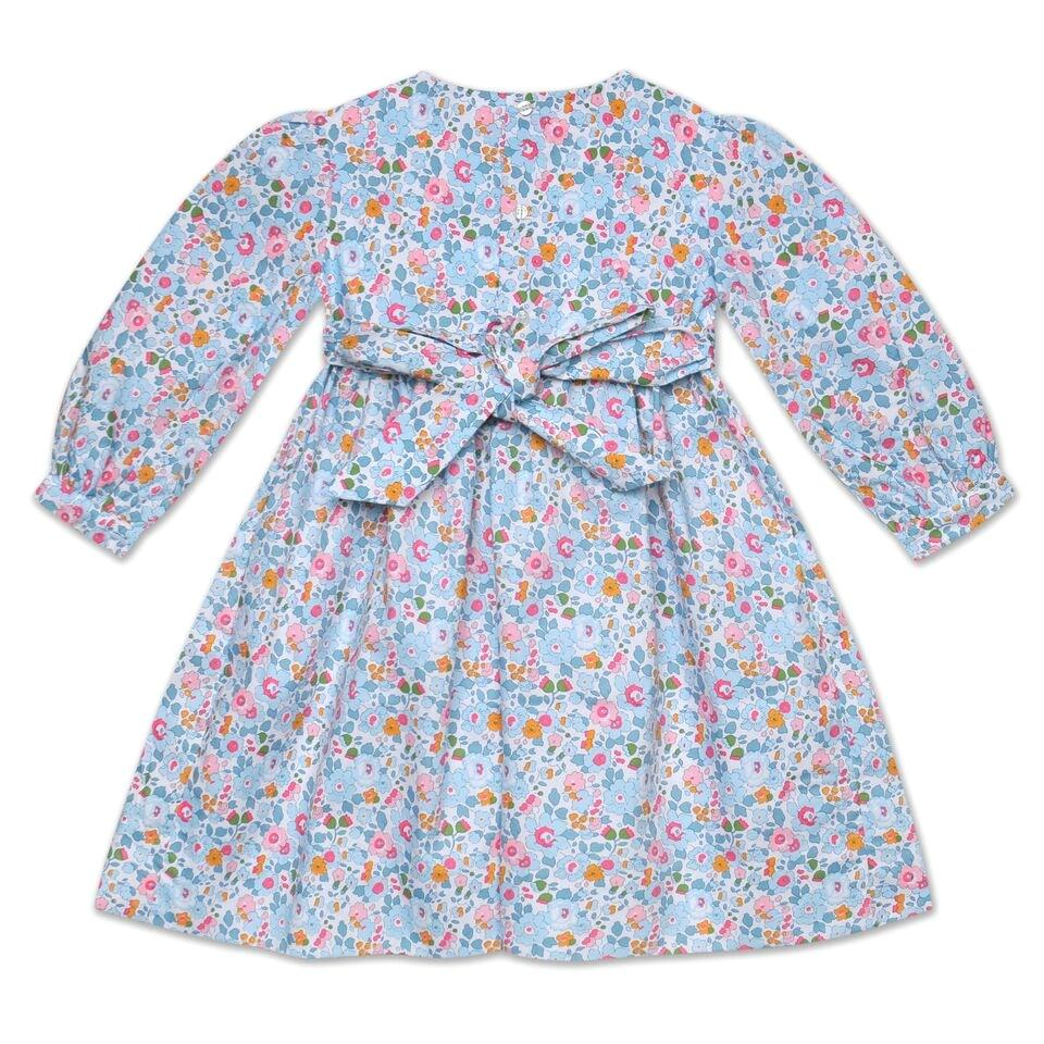 GRACE PALE BLUE LIBERTY PRINT SMOCK DRESS