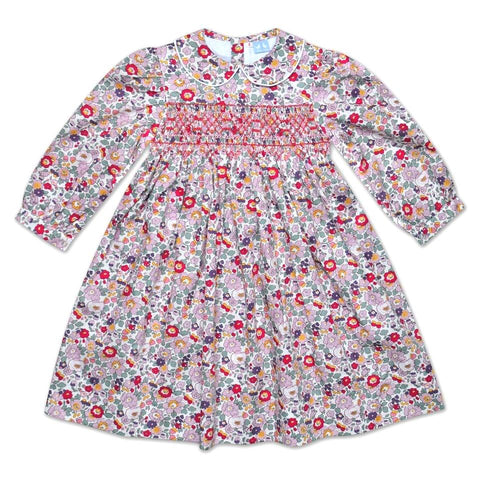 GRACE GREEN, PINK AND PURPLE LIBERTY PRINT SMOCK DRESS