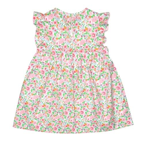 FRILL SLEEVE PINK AND GREEN LIBERTY PRINT DRESS
