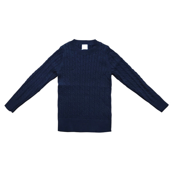 COTTON CABLE KNIT JUMPER IN NAVY